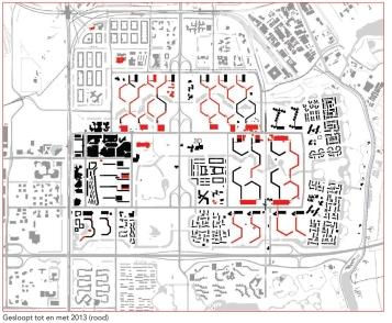 Wat is er gesloopt in de Bijlmer (in rood)